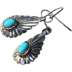 Native American Pierced Earrings-Silver & Turquoise-Artistic Dangles -- found at www.rubylane.com #vintagebeginshere #under25dollars