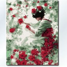 Paint by number Kits, Rose Girl Paint by number Kits,40cmX50cm