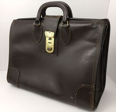 """Vintage Brown Leather Briefcase 16"""" Doctor Lawyer Professional Made In The USA #DetroitLondonLuggageShop #DoctorLawyerBag"""