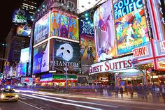 Times Square, New York City - no matter what tine of the day or night it is, this is a bustling tourist attraction not to be missed.
