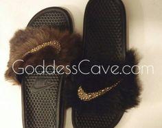 Furry Nike Slides by GoddessCave on Etsy
