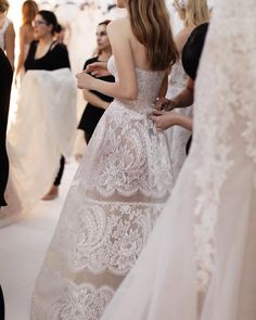A little glimpse backstage at the gorgeous Reem Acra Bridal collection Bridal Dresses, Wedding Gowns, Wedding Day, Lace Wedding, Bridal Show, Bridal Style, Reem Acra Bridal, Podium, Wedding Inspiration