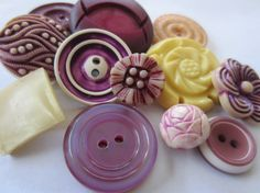 Vintage Buttons  Cottage chic mix of purples and by pillowtalkswf, $7.00