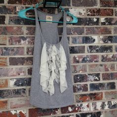 Hollister grey and cream lace top Only worn once!  Beautiful and great for spring  Hollister Tops