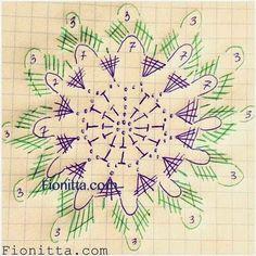 ergahandmade: Crochet Motifs + Diarams + Free Pattern Step By Step Crochet Motif Patterns, Crochet Diagram, Crochet Chart, Free Crochet, Crochet Ornaments, Crochet Snowflakes, Crochet Doilies, Crochet Flowers, Crochet Circles