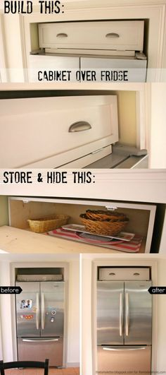 Build an over-the-fridge cabinet! Tutorial from That's My Letter on Remodelaholic.com #diy #spacesaver #storage