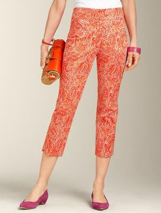 En Lieu of capris, w/ untucked blouse and flats or sandals.  Talbots - Curvy Fit Paisley Skimmer | Pants | Apparel