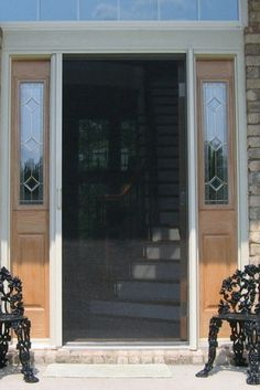 Phantom Screen door - retracts when not in use. Will not affect view of house (no HOA approval needed! Front Door With Screen, Front Door Porch, Screen Doors, House Front Door, Screened In Porch, House Windows, Windows And Doors, Phantom Screens, Retractable Screens