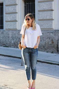 tifmys – Shirt and pumps: H&M | Jeans: Envii | Bag: Zara | Sunglasses: Ray Ban Aviator