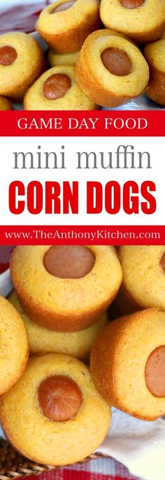 ► Mini Muffin Corn Dogs Recipe: cooking spray, flour, cornmeal, sugar, fine sea salt, baking soda, sour cream, milk, eggs, unsalted butter and beef hot dogs. Whisk dry ingredients, make a well in the center. Whisk wet ingredients, gently stir into dry. Gently mix in melted butter. Scoop 1 tbs batter into greased muffin tins, add hot dog piece. Bake in preheated 400°F oven 12 minutes.