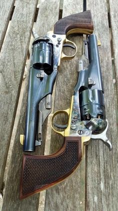 Colt color case-hardened revolvers w/checkered grips Weapons Guns, Guns And Ammo, Black Powder Guns, Revolver Pistol, Lever Action, Fire Powers, Hunting Rifles, Cool Guns, Le Far West
