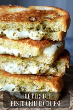 The Perfect Pesto Grilled Cheese, with low moisture mozzarella cheese & flavorful pesto, this sandwich is great on it's own or with a bowl of soup Grill Sandwich, Pesto Sandwich, Grill Cheese Sandwich Recipes, Grilled Cheese Recipes, Steak Sandwiches, Burger Recipes, Pesto Grilled Cheeses, Easy Brunch Recipes, Kitchens
