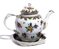 Teapot and stand Bristol Porcelain c. 1775 Decorated with the arms of Ludlow of Camden