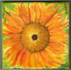 Sunflower on Green original painting on canvas by SharonFosterArt, $35.00