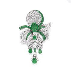 Platinum, Emerald and Diamond Pendant-Brooch, ca. 1935 via Sotheby's