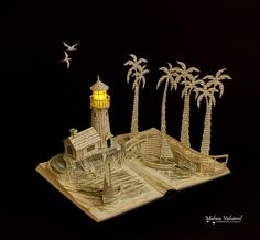 Harbour with lighthouse book art