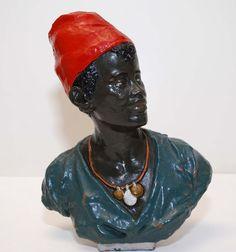 """Late 19th century Goldscheider Wien Terracotta Bust of a Blackamoor male 8.5"""""""