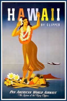 vintage, vintage posters, retro prints, classic posters, graphic design, free download, travel, travel posters, Hawaii by Clipper, Pan American World Airways - Vintage Travel Poster