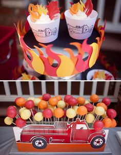 Fire Truck Printable Birthday Party - Paper and Cake - Kindergeburtstag Feuerwehr - Fireman Party, Firefighter Birthday, Fireman Sam, Boy Birthday Parties, Birthday Party Decorations, Cake Birthday, Themed Parties, Cake Decorations, Birthday Ideas