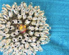 Silver Tone Beaded Flower Star Sunburst Pin Brooch Vintage Rhinestone Center