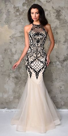 Nina Canacci Artful Lace Halter Gown Ivory Black Dress 4101 - plus size evening dresses, party dresses for women, top dress stores *ad Evening Dresses, Prom Dresses, Formal Dresses, Wedding Dresses, Dresses 2016, Dress Prom, Long Dresses, Wedding Bride, Sexy Dresses