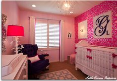 Glamorous hot pink nursery design by Little Crown Interiors featuring hot pink damask wallpaper, custom crib bedding and acrylic accents. Nursery Room, Girl Nursery, Girl Room, Nursery Decor, Navy Nursery, Nursery Ideas, Project Nursery, Wall Decor, Damask Nursery