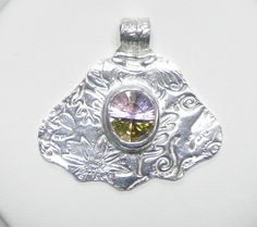 Silver Fan Pendant with Large Multicolored Cubic Zirconia