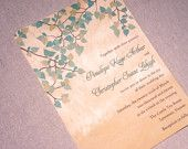 Real Wood Wedding Invitations - Spring Green Leaves