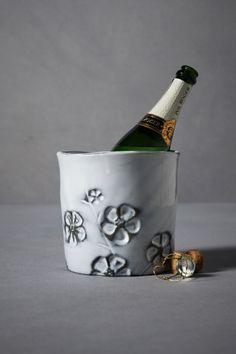 ceramic champagne bucket - impatients, whitewash white