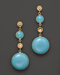 Roberto Coin 18K Yellow Gold, Diamond and Turquoise Enamel Small Earrings  Bloomingdale's