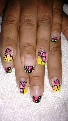 Vɨʋɨaռa                                                       … Crazy Nails, Love Nails, How To Do Nails, Fun Nails, Spring Nails, Summer Nails, Bright Nails, Manicure Y Pedicure, French Tip Nails