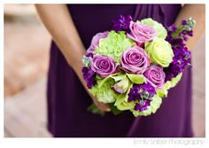 Bridal bouquet. Green + purple