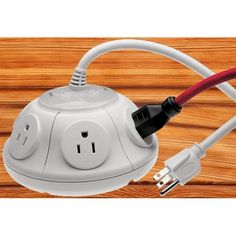 6-Outlet Power Pod with Surge: Say goodbye to the power strip with this stable pod which will not tip over and avoids the headache of blocking of adjacent outlets. .......i need, like, 10 of these.