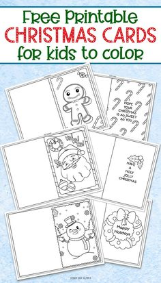 fun Christmas Crafts FREE printable Christmas cards for kids to color and send! Perfect for teacher gifts, grandparent gifts, or a Christmas random act of kindness. Super cute and fun Christmas craft for kids! Free Printable Christmas Cards, Diy Christmas Cards, Christmas Colors, Christmas Card For Teacher, Coloring Christmas Cards, Printable Cards, Free Printables, Preschool Christmas, Christmas Crafts For Kids