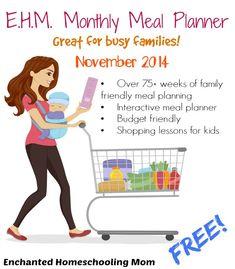FREE November 2014 Monthly Menu Planner + 75 Weeks of Meal Plans!