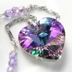 Pink Purple Heart Necklace Sterling Silver Chain Swarovski  Amethyst Vitrail Crystal Heart Pendant Necklace
