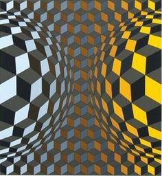 In this piece, the artist Victor Vasarely, utilizes the elements of color, shape, and line to further develop form. He alters the color value of each square and curves the lines to stretch the visual plane outward into spheres. This adds the appearance of a third dimension to the two dimensional workspace.