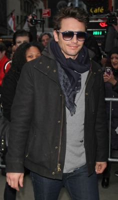 """Could James Franco look any spexier in these navy blue Gucci """"GG1018/S"""" modernized aviators from Safilo?!"""