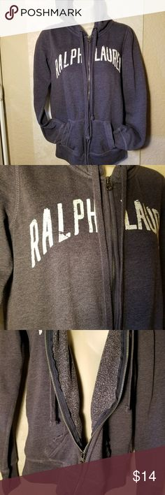 Ralph Lauren zip up hoodie woman's X Small Navy blue with white distressed font,excellent conditon,no wear.size is small CH...adult X Small 100% cotton Ralph Lauren Sweaters
