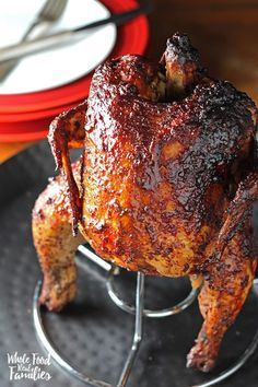 BBQ Beer Can Chicken for an awesome dinner on the grill or smoker. Let's be honest - this recipe for a squatty little chicken is as fun as it is delicious! @wholefoodrealfa