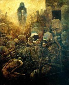 In this world. Surreal painting by Zdzislaw Beksinski, 1970 Arte Horror, Horror Art, Dark Images, Macabre Art, Fantasy Kunst, Creepy Art, Scary, My Demons, Fantastic Art