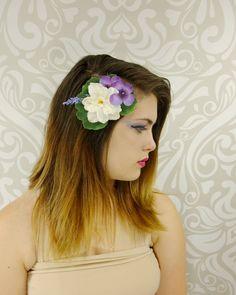 Flower Hair Clip, Bridal Hair Clip, Woodland Hair Clip, Purple and White Fascinator, Woodland Wedding, Boho Hair Clip by RuthNoreDesigns on Etsy
