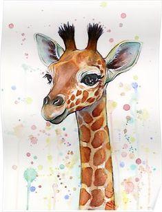 Baby Giraffe Watercolor Painting, Nursery Art Poster