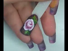 Trendy nails french flower one stroke Ideas Rose Nail Art, White Nail Art, Rose Nails, Flower Nails, Glitter French Manicure, French Manicure Designs, Simple Nail Designs, French Nails, Uñas One Stroke