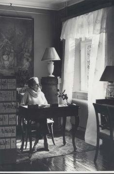 Karen Blixen, 1950, at her writing desk - Out of Africa