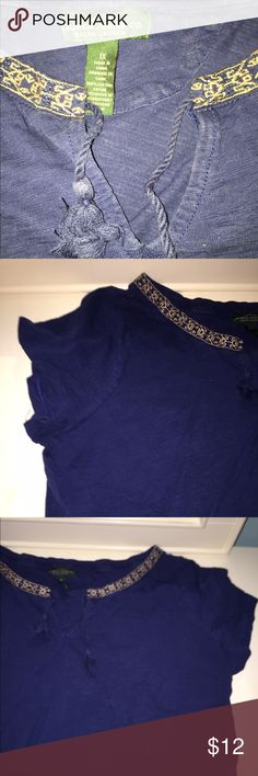 Lauren Jeans Co. Women's 1X Dark Royal Blue Top Ralph Lauren Denim Women's Top, a casual tee shirt with a twist! This tee has 2 tassels and an embroidered yellow trim at the collar. It is lightweight, comfy, and a very versatile piece! Worn only a few times. While it is 1X I'm a small and it fits me & doesn't look too bulky. Anyone could wear this top! Denim & Supply Ralph Lauren Tops Tees - Short Sleeve