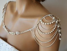 Wedding Shoulder Necklace, Pearl Shoulder Jewelry For Bridal, Crystal Wedding Dr. - Wedding Shoulder Necklace, Pearl Shoulder Jewelry For Bridal, Crystal Wedding Dress Shoulder Neckla - Shoulder Jewelry, Shoulder Necklace, Crystal Wedding Dresses, Bridal Dresses, Crystal Dress, Unique Wedding Dress, Pearl Dress, Wedding Vintage, Bridal Headpieces
