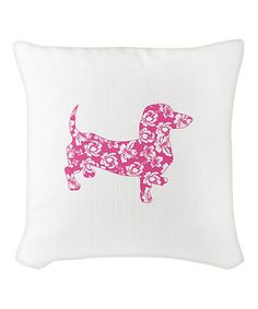 Look what I found on #zulily! Pink Hawaiian Dachshund Burlap Pillow #zulilyfinds
