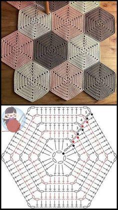 Crochet Motifs, Granny Square Crochet Pattern, Crochet Diagram, Crochet Squares, Crochet Chart, Crochet Hexagon Blanket, Hexagon Quilt, Granny Squares, Mode Crochet