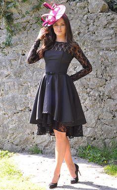 Ivana Black Lace Swing Dress - Lady VB